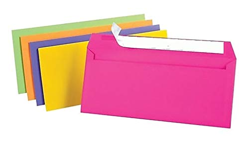"""1InTheOffice EasyClose Neon Brights Color Envelopes, 10, Assorted, 4 1/8""""H x 9 1/2""""W, 50/Pack (Assorted Neon Brights)"""