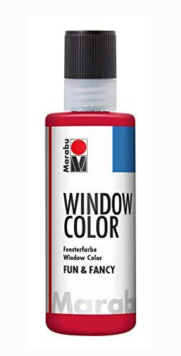 Marabu 04060004038 - Window Color fun & fancy, rubinrot 80 ml, Fensterfarbe auf Wasserbasis, ablösbar auf glatten Flächen wie Glas, Spiegel, Fliesen und Folie