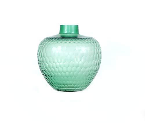 R S Light Vase , Flower Pot, Glocery Glass Cut Light Green Decorative Artificial Flower Pot, Vase for Home Decoration (w 32x 34 L) cm