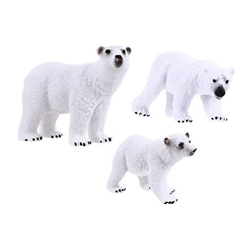 TOYANDONA Juego de Juguetes de Figuras de Oso Polar de 3 Piezas Juguete en Miniatura de Plástico Realista Simulado de Animales Salvajes