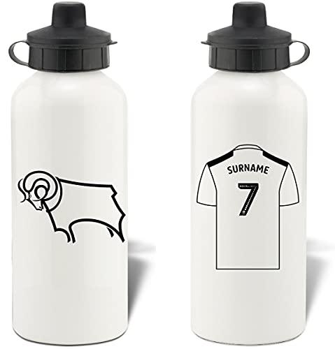 Personalised Derby County Shirt Aluminium Sports Water Bottle - White Bottle