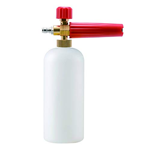 LilyJudy Lanza de espuma para lavado de coche Karcher K (K2-K7) Serie ajustable presión para lavado de coche nieve lanza con acoplamiento rápido de 1/4 pulgadas, botella de Weiie + mango rojo