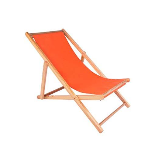 Tumbona Silla Gravedad Cero Madera Al Aire Libre, Plegable Siesta Chaise Longue Silla Plegable Reclinable para Balcón Jardín de Playa (Color : Orange)