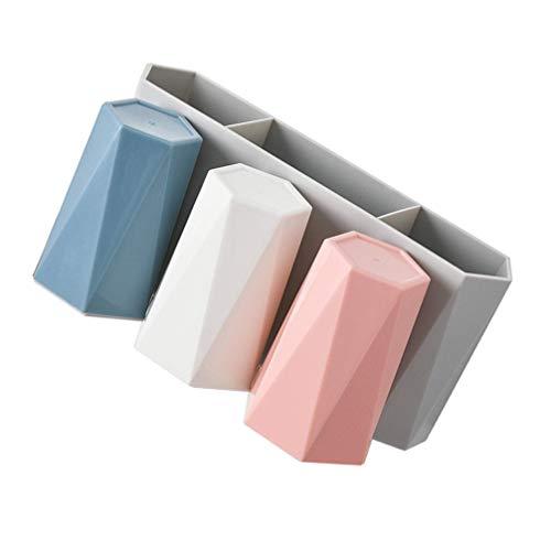 Cabilock - Portaspazzolino da parete con 3 tazze, per doccia, bagno, accessori per la casa, blu, bianco, rosa