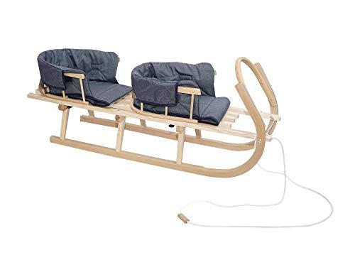 Schlitten Duo aus Holz Holzschlitten für Zwei Kinder mit Zwei Rückenlehne Rodelschlitten Davoser Schlitten aus Holz mit einem Sicherheitsgurt, Rückenlehne, Matratze für Kinder und Erwachsene (Blau)