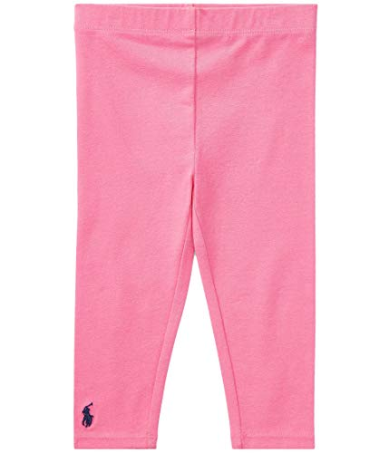 Polo Ralph Lauren Kids Baby Girl's Big PP Solid Leggings (Infant) Baja Pink/French Navy Pony Player 9 mos