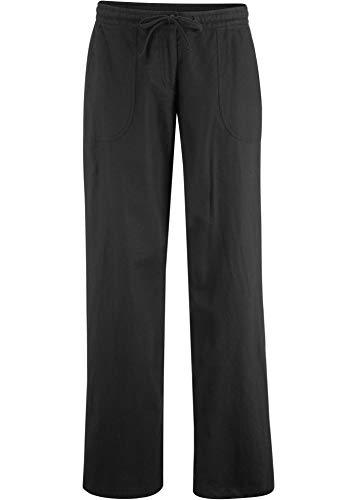 bonprix Komfortable 3/4-Leinenhose mit Bindeband und Taschen schwarz 3/4 Bein 48 für Damen