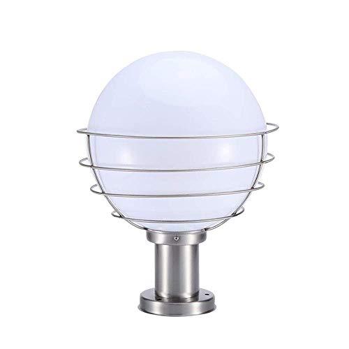 Nfudishpu IP55 Waterproof Ball Globe Outdoor Post Pillar Bollard Light Lantern Spherical Modern Column Lamp Rainproof Stainless Steel Metal Exterior Landscape Patio Garden Table Light E27 For outdoor