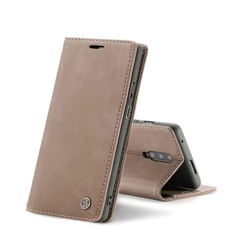 Chocoyi Kompatibel mit OnePlus 7 Pro Hülle Leder,Magnetverschluss Premium PU Leder Flip Hülle,Standfunktion.-Braun