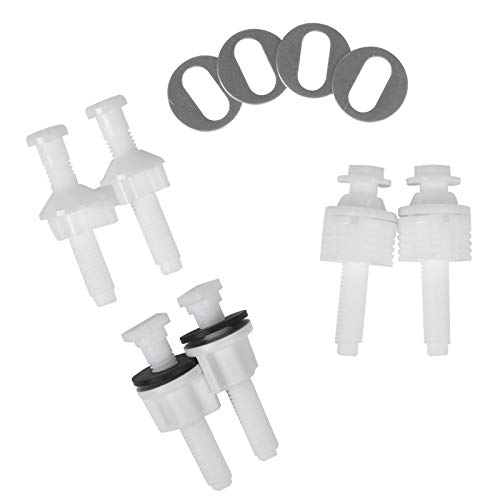 Universal Toilet Seat Hinge Bolt Screw For Top Mount Toilet Seat Hinges, Downlock Nuts can Slip Over Bolts Threads for Rapid Installation without Screwing in-White Plastic replacement parts