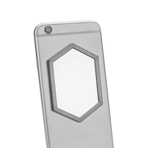 Refix mobiele telefoon spiegel - zelfklevende echte spiegel voor smartphone telefoonhoes beschermhoes - selfie make-up spiegel om op te plakken, Hexagon - zwart