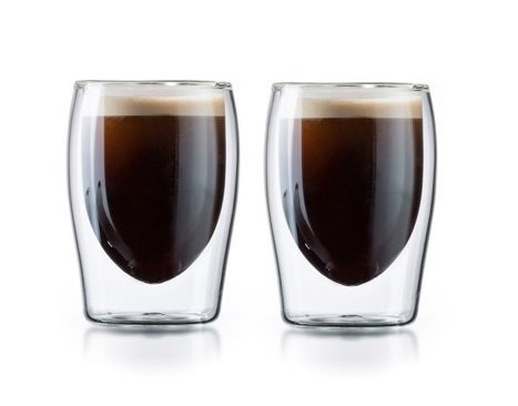 Double Wall Thermo Insulated Tea & Coffee Glasses - Set of 2 Borosilicate Glasses by Boral Germany (3 oz)