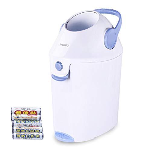 RR&LL Große Mülltonne Mülldose Eco- Freundliche Materialien,Baby Schritt Windel Eimer Mit Geruch Verriegelung,tragbare Ordentliche Windel Eimer Mit Griff Blau 36x27.5x54cm(14x11x21inch)