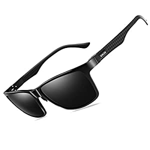 Bircen Polarized Driving Sunglasses For Men UV Protection Carbon Fiber Temple Sport Mens Sunglasses Al-Mg Metal Frame