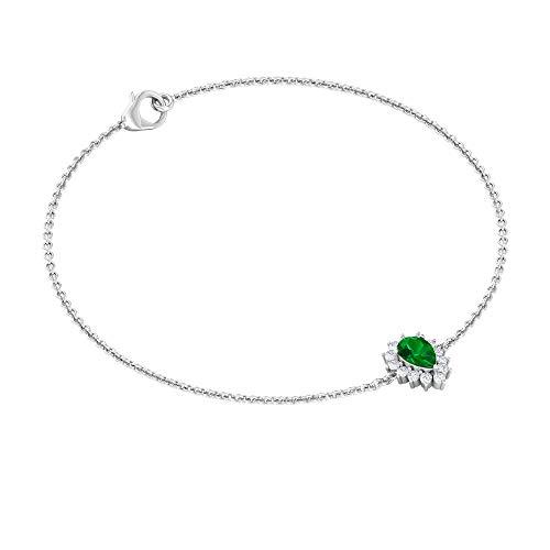 Pulsera de diamantes de esmeralda de 3/4 quilates, pulsera de esmeralda verde en forma de pera,...