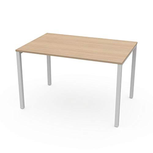 LEVIRA – Mesa de Oficina, Mesa de Comedor, Escritorio, Ceou - 120 x 74 - Roble Blanco ✅
