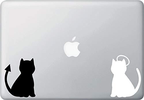 Wall Art MB - Kat Engel en Duivel - Vinyl Laptop MacBook Sticker - Eenvoudig aan te brengen