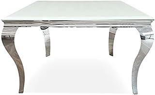 Meubler Design Table De Salle à Manger Carrée Baroque 140 Cm X 140 Cm - Ema - Blanc
