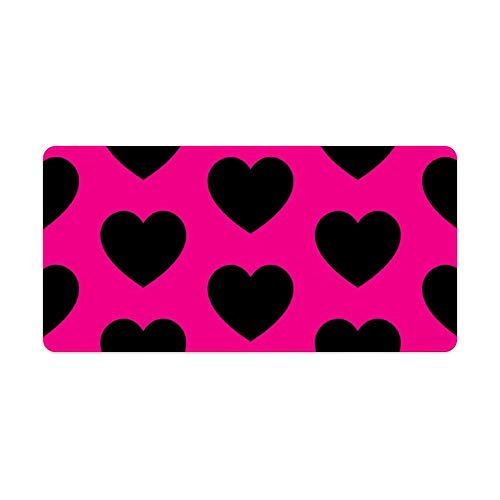 Extended Gaming Mouse Pad with Stitched Edges Waterproof Large Keyboard Mat Non-Slip Rubber Base Hearts Black On Hot Pink Desk Pad for Gamer Office Home 12x24 Inch