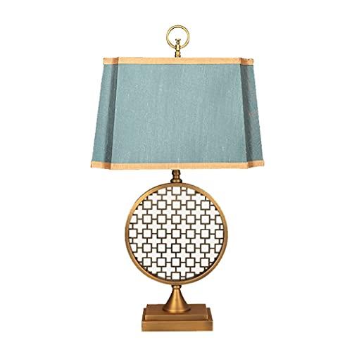 LIUMLIANG Lámpara de mesa china para dormitorio o mesita de noche, tela clásica, estilo chino, estilo retro, decoración de la habitación, luz de mesa LIUMLIANG (color: azul)