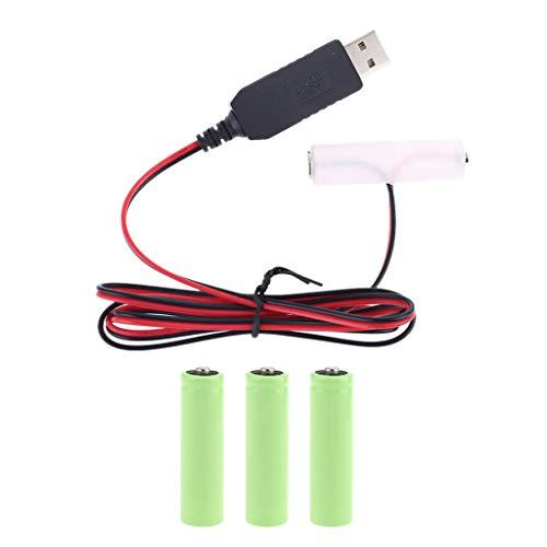 Eliminador de batería, LR6 AA batería adaptador de fuente de alimentación USB cable de reemplazo de 1 a 4 pilas AA, 3 m