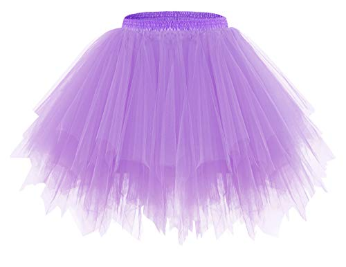 Bridesmay Women's Christmas Tutu Skirt 50s Vintage Ballet Bubble Dance Skirts for Cosplay Party Lavender M