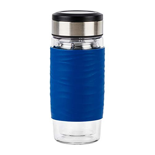 Emsa N20805 Tea Mug Teebecher aus doppelwandigem Glas | hält 1 Sunde warm| 0,4 Liter | herausnehmbares Sieb | BPA-Frei | 100% dicht | auslaufsicher | blau