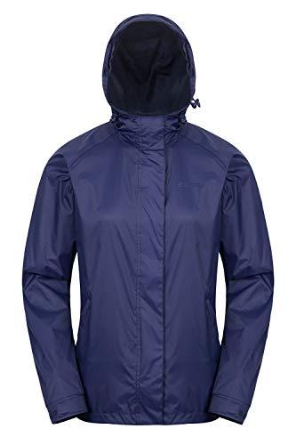 Mountain Warehouse Torrent Jacke für Damen - Wasserfeste Regenjacke, Leichter Mantel, versiegelte Nähte, Damenjacke mit Taschen - Ideal für Reisen, Camping, Frühling Marineblau 48