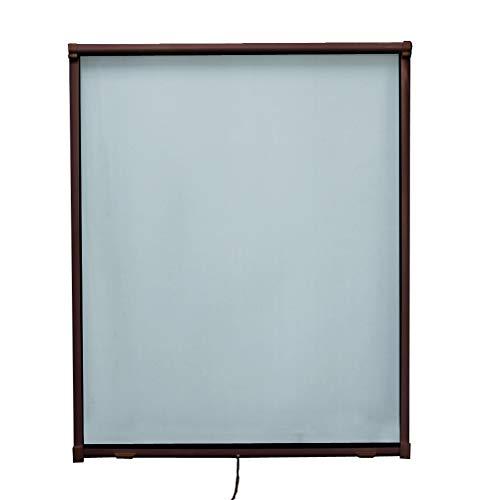 Fliegengitter Rollo Fenster Insektenschutzrollo mit Aluminum Rahmen Individuell Kürzbar,130 * 160cm,Braun