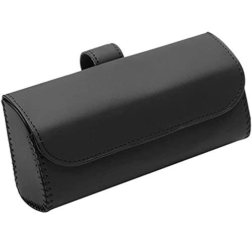 Fransande - Soporte universal para gafas de sol para coche, parasol para coche, portagafas, accesorios de almacenamiento para gafas de sol, de piel, color negro