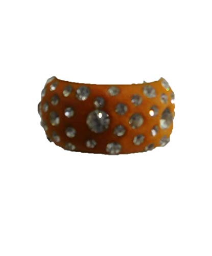 Damen-Ring-Fingerring-Rundumring-silber-orange- Strass- Top-stylisch-Gr. 19