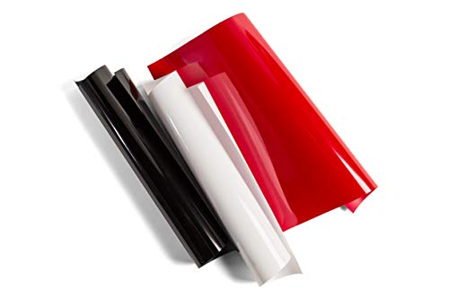 """Cricut Everyday Iron On - 12"""" x 12"""" 3 Sheets - Includes Black, White, Red - HTV Vinyl for T-Shirts - Use with Cricut Explore Air 2/Maker - Elegance Sampler"""