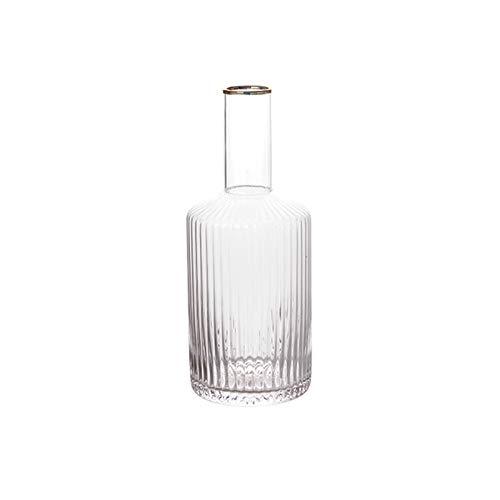 zxb-shop Jarras Jarra de Vidrio de Borde Dorado con Jarra de Cristal de Rayas Verticales Ideal para Jugo casero y té frío o Botellas de Leche de Vidrio (1020ml) Jarra de Vidrio