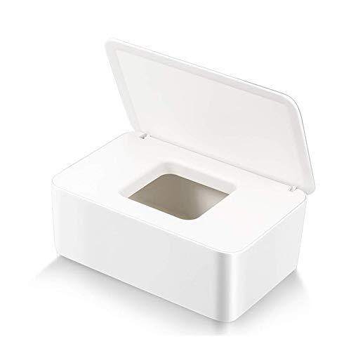 Caja para Toallitas Húmedas, Dispensador de toallitas de pañal Caja, Caja de Servilletas, Bebé Caso Titular Caja, Pañales de Bebé Mojado Tejido Caja (Blanco-A)
