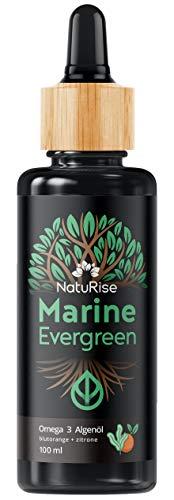 NatuRise Omega 3 Algenöl (100ml) | Marine Evergreen | Vegan & Natürlich | Hochdosiert | DHA, DPA & EPA | Pipette mit Dosierskala | Blutorange & Zitrone | UV-Glas | Made in Germany