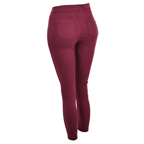 Autumn and Winter Women's Pants Solid Color Mid-Waist Casual Pants Women's Foot Pants Pencil Pants Red Wine