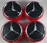 Y&F Boutique shops Juego de 4tapacubos centrales doblados para Ruedas Mercedes Benz AMG 75mm Rojo/Negro De 4Piezas