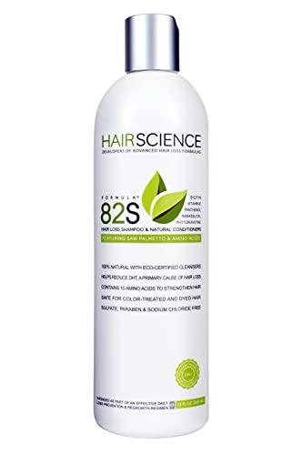 Hair Science Formula 82S   Anti Hair Loss Shampoo and Conditioner with DHT blocker Saw Palmetto + Biotin, Panthenol, Vitamin E, Phytokeratine, Seaweed Extracts & Amino Acids   All Natural + Color Safe