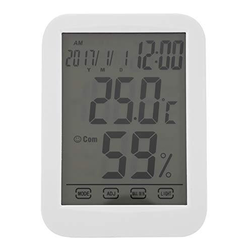 Mumusuki Digitales drahtloses Hygrometer Indoor Outdoor Thermometer Drahtloses Temperatur- und Feuchtigkeitsmonitor mit Touchscreen-Uhr