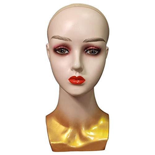 Sharplace Cabeza de Maniquí de Primera Calidad con Rostro Femenino Calvo Soporte para Exhibición de Pelucas para Exhibición de Joyería - Oro, Individual