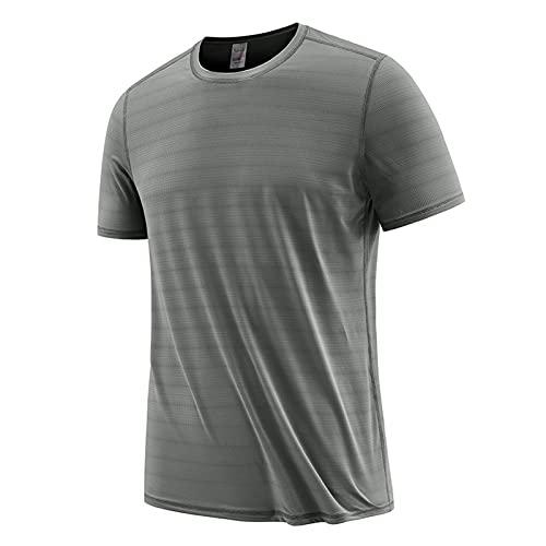 FOTBIMK Camisetas Para Hombres Casual Suelto Manga Corta Raya Camiseta Moda Verano Transpirable Secado Rápido Camiseta Gris