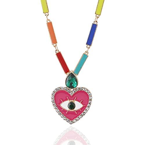 Forma de corazón Colgante Mujer Encanto Acero Inoxidable Metal Media Luna Negro Joyería de Moda colorrose