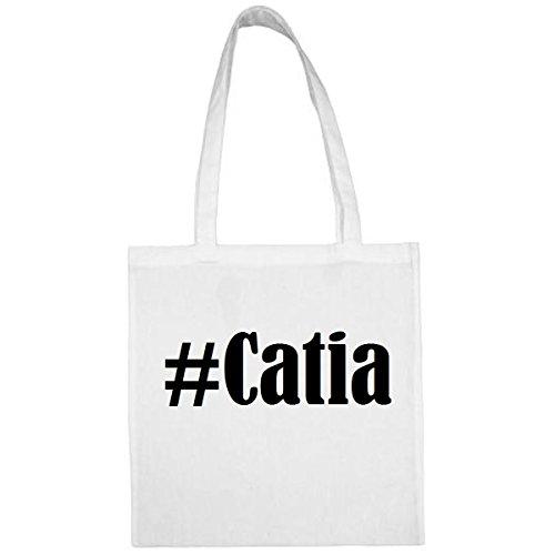 Tasche #Catia Größe 38x42 Farbe Weiss Druck Schwarz