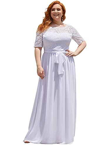 Ever-Pretty Talla Grande Vestido de Boda Encaje A-línea Imperio Escote Redondo Largo...