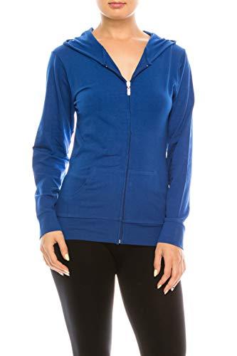 EEVEE Women's Full Zip Hoodie - Casual Slim Fit Lightweight Jacket Long Sleeve Sweater Activewear Yoga Running Hooded Sweatshirt ASJ-4001 RoyalBlue XL