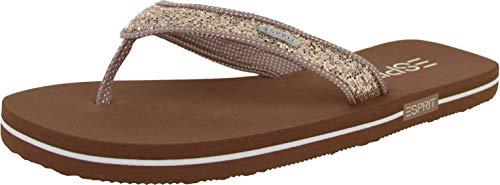 ESPRIT Damen Glitter Thongs Pantoletten Beige (Cream Beige 295), 39 EU