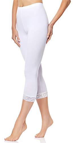 Merry Style Damen 3/4 Capri Leggings aus Baumwolle mit Spitze MS10-224 (Weiß, 5XL)
