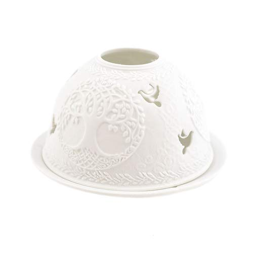 Porzellan-Teelicht-Windlicht, Starlight Nr.490, Baum mit Vogel (unterbrochen), Lithophanie weiß