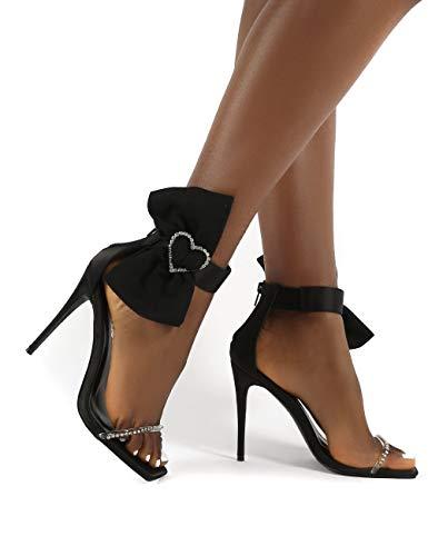 LONG-M Nuevos Sandalias para Mujer Tipo Gladiador Mariposa Púrpura-Nudo Sandalias Sexy Talones De Alta Decoración Vestido De Fiesta De Verano Zapatos,Negro,36