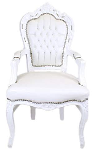 Casa Padrino Barock Esszimmerstuhl Weiß/Weiß Lederoptik mit Armlehnen - Barockstuhl - Antik Stil Stuhl